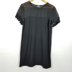 Lulu's Iced Latte Black Shift Dress Tassels Large